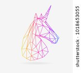 vector polygonal unicorn...   Shutterstock .eps vector #1018653055