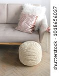 modern knitted pouf in a... | Shutterstock . vector #1018656037
