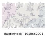 justice set. femida  lady of... | Shutterstock .eps vector #1018662001