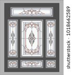 doors   stained glass windows.... | Shutterstock .eps vector #1018662589