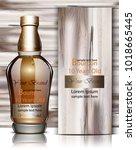 bourbon bottle vector realistic.... | Shutterstock .eps vector #1018665445