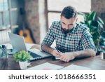 attentive smart clever... | Shutterstock . vector #1018666351