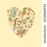 cute easter festive banner for... | Shutterstock .eps vector #1018666951