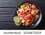 delicious ceviche of shrimp...   Shutterstock . vector #1018673329