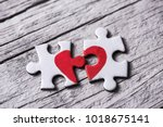 closeup of two separated pieces ... | Shutterstock . vector #1018675141