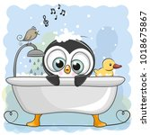Cute Cartoon Penguin In The...