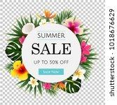 summer sale tropical banner ... | Shutterstock .eps vector #1018676629