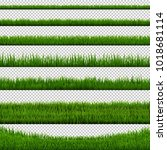 grass border collection  vector ... | Shutterstock .eps vector #1018681114