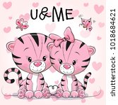 two cute tigers on a hearts... | Shutterstock . vector #1018684621