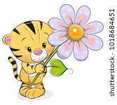 greeting card tiger with flower ...   Shutterstock . vector #1018684651