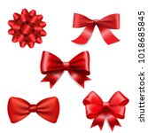 red ribbon bow set | Shutterstock . vector #1018685845