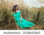 the future mother sitting on...   Shutterstock . vector #1018692661