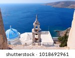 iconic castle of astypalaia... | Shutterstock . vector #1018692961