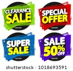 set sale banners  discount tags ... | Shutterstock .eps vector #1018693591