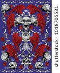 gothic textures with skull ... | Shutterstock .eps vector #1018705531