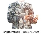 business man touching on the... | Shutterstock . vector #1018710925