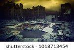 apocalyptic city sunset....   Shutterstock . vector #1018713454