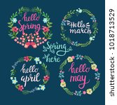 hand drawn spring wreaths with... | Shutterstock .eps vector #1018713529