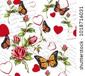 pattern with flowers and... | Shutterstock .eps vector #1018716031
