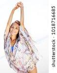 sexy girl in bikini and shirt... | Shutterstock . vector #1018716685