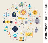 astrology house icons design... | Shutterstock .eps vector #1018718431
