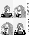 hand drawn illustrations of two ... | Shutterstock .eps vector #1018720327