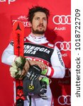 Small photo of ZAGREB, CROATIA - JANUARY 4, 2018 : First placed Marcel Hirscher of Austria on the award ceremony of the Audi FIS Alpine Ski World Cup Men's Slalom, Snow Queen Trophy 2018 in Zagreb, Croatia.