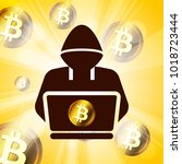 hacker symbol on bitcoin... | Shutterstock .eps vector #1018723444