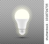 glowing led bulb isolated on... | Shutterstock .eps vector #1018726735