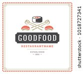 sushi restaurant logo vector... | Shutterstock .eps vector #1018727341