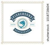 seafood restaurant logo vector... | Shutterstock .eps vector #1018728604