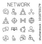network related vector icon set.... | Shutterstock .eps vector #1018733179