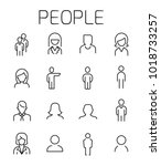 people related vector icon set. ... | Shutterstock .eps vector #1018733257