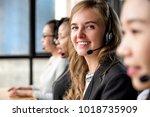 friendly beautiful caucasian... | Shutterstock . vector #1018735909