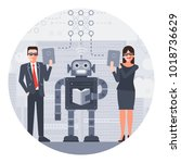 businessman and businesswoman... | Shutterstock .eps vector #1018736629