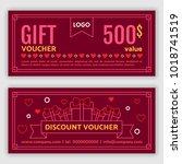 gift voucher template. vector... | Shutterstock .eps vector #1018741519