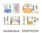 inside maternity shop set....   Shutterstock . vector #1018742194