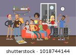 party at home. people dancing ... | Shutterstock . vector #1018744144