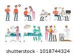man with cancer set. illness... | Shutterstock . vector #1018744324