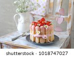 strawberry charlotte with... | Shutterstock . vector #1018747027