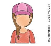 beautiful woman with cap avatar ... | Shutterstock .eps vector #1018747234