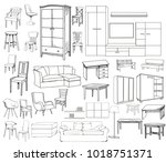 vector  isolated sketch of a... | Shutterstock .eps vector #1018751371