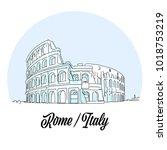 rome italy landmark sketch.... | Shutterstock .eps vector #1018753219
