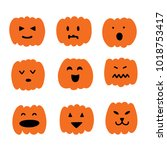 set of emotions halloween... | Shutterstock .eps vector #1018753417