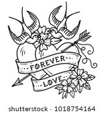 tattoo two hearts pierced by... | Shutterstock .eps vector #1018754164