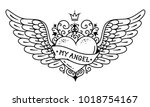 tattoo flying heart with crown... | Shutterstock .eps vector #1018754167