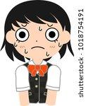 girl's student japanese short... | Shutterstock .eps vector #1018754191