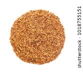 Small photo of Organic Alfalfa seed (Medicago sativa) in Circle Shape. Isolated on White Background. Micro Closeup, Top view.