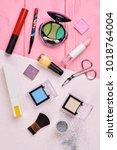 cosmetics makeup objects  top... | Shutterstock . vector #1018764004