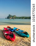 colorful kayaks at ao loh dalum ... | Shutterstock . vector #1018770265